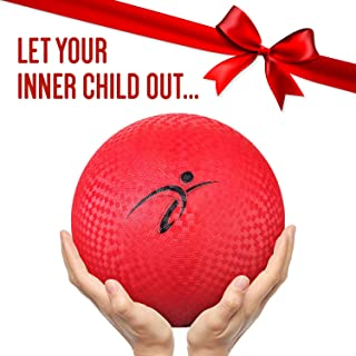 Official Size Kickball with Pump - 10 Inch Rubber Playground Ball, Medium to Large Size Dodgeball and Foursquare Ball with Air Pump for All your Inflatables Including All Balls, Pool Floats and More