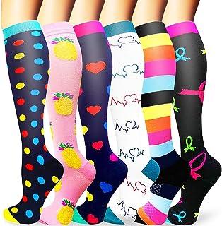 Sooverki Calcetines de Compresión para Hombres y Mujeres 6 Pares 20-25 mmHg es el Mejor para Running, Correr, Senderismo, ...