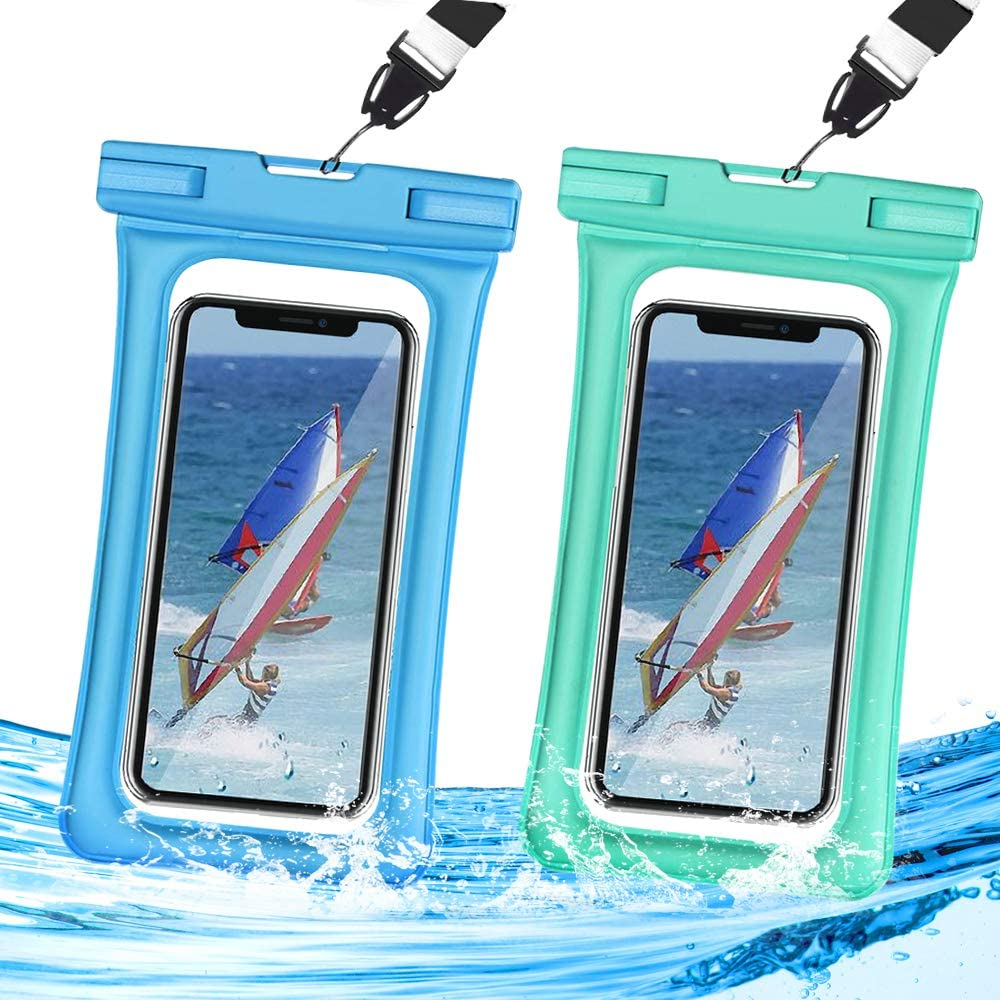 Waterproof Phone Pouch Floating,Universal Waterproof Case,Dry Bag IPX8 TPU Clear,2-Pack Compatible for iPhone Xs Max/Xr/X/8/8plus/7/7plus6/6s Galaxy Note up to 6.5
