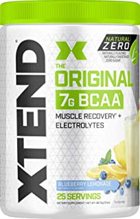 XTEND Natural Zero BCAA Powder Blueberry Lemonade | Free of Artificial Sweeteners, Flavors, and Chemical Dyes | Post Worko...