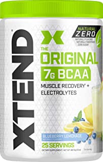 Xtend Natural Zero Bcaa Powder Blueberry Lemonade | Free of Artificial Sweeteners, Flavors, Chemical Dyes | Post Workout Drink with Amino Acids | 7g bcaas for Men & Women | 25 Servings