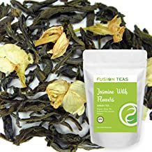 Organic Jasmine with Flowers Green Tea - Gourmet Floral Scented Chinese Loose Leaf Tea Zero Calories - 5 Oz. Pouch