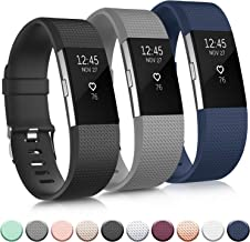 Pack 3 Replacement Bands Compatible for Fitbit Charge 2 Bands, Adjustable Accessory Soft Silicone Sport Wristband for Wome...