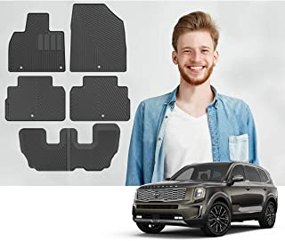 Road Comforts Kia Telluride 2020 Custom Fit All Weather Floor Mats - Protect Floor from Dirt, Mud, Snow, Slush & Water - 3 Rows, Front, Second and Third Row (6pcs) (Black)