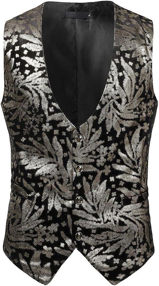 MODOQO Men's Single Breasted Vest Slim Fit Waistcoat Steampunk Victorian Business Suit