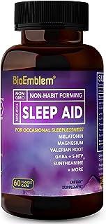 BioEmblem Natural Sleep Aid for Adults with Melatonin, Valerian Root, Suntheanine & More   Fast, Deep Sleep Supplement   Herbal Sleeping Pills   60 Capsules
