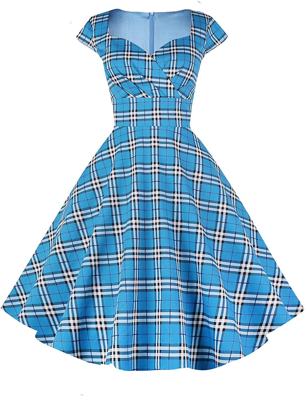 Pin Up Girl Costumes | Pin Up Costumes Hanpceirs Womens Cap Sleeve 1950s Retro Vintage Cocktail Swing Dresses with Pocket  AT vintagedancer.com