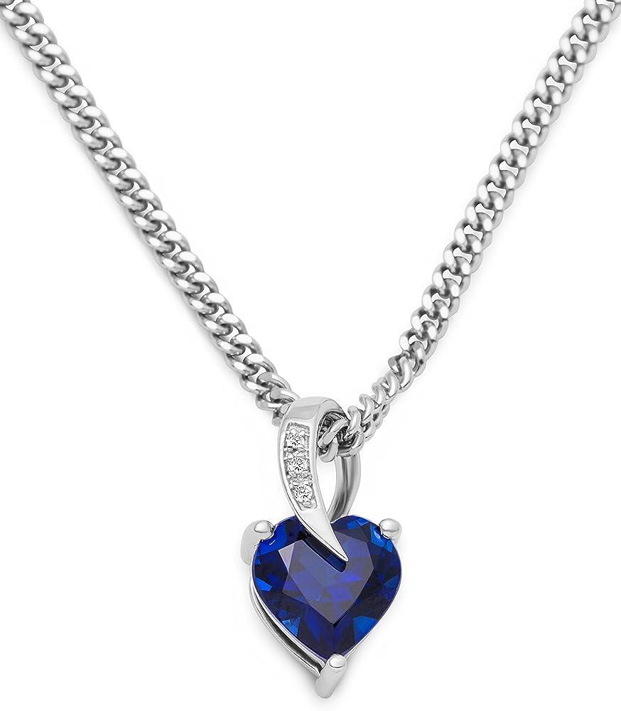 Miore, collana con pendente da donna in argento 925(4,42 gr ), con zaffiro blu 1,75 ct SAS004N