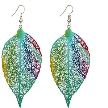 Adisaer 18k Gold Plated Dangle Earrings Daily Wear for Girls Green Leaf Earrings Drop Black Cubic Zirconia