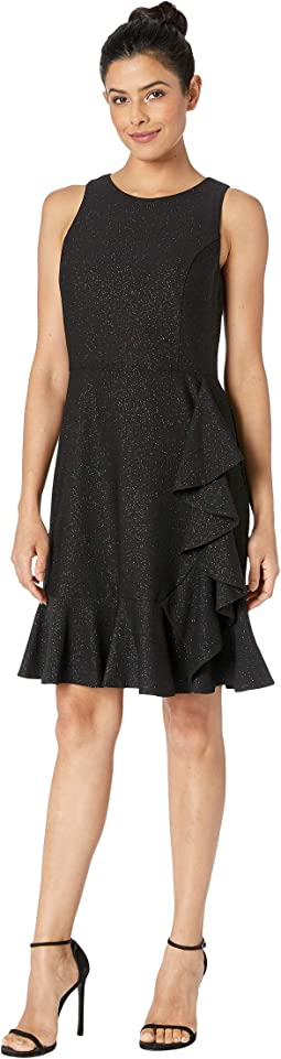 Glitter Knit Sleeveless Ruffle Hem Dress