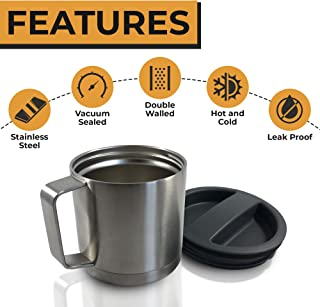 Stainless Steel Insulated Coffee Mug with Lid - Camping Mug - Beer Mug - 18oz 540ml Thermal Mug with Handle