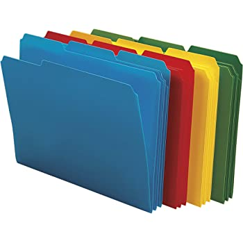 Smead Poly File Folder, 1/3-Cut- Tab Letter Size, Assorted Colors, 24 per Box (10500)