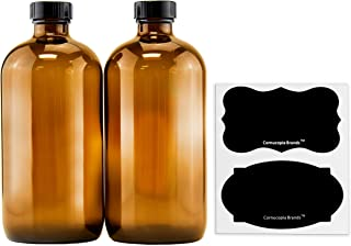 16-Ounce Amber Glass Bottles with Reusable Chalk Labels and Lids (2 Pack), Refillable Brown Boston Round Bottles, with Black 28-400 Caps