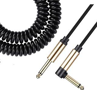 Asmuse™ Cable Rizado para instrumento de bajo guitarra eléctrica 1/4 pulgadas 6,3 mm jack cable en espiral con reducción de ruidos para Guitarra Bajo Eléctricoa a Amp-3 m