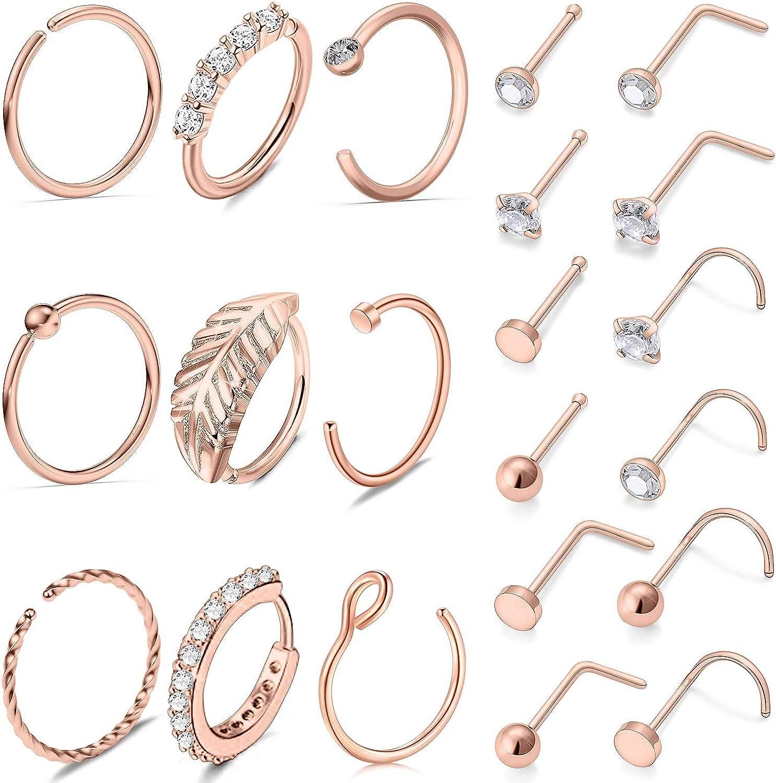 Vsnnsns 20G Genuine Nose Rings for Women Bone Stainless Screw Sh L Tulsa Mall Steel