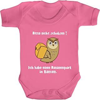 ShirtStreet Strampler Bio Baumwoll Baby Body kurzarm Jungen Mädchen Eule - Bitte nicht schubsen