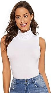 Verdusa Women's Sleeveless High Turtleneck Tank Top