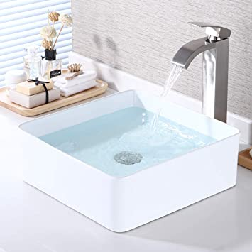 Kes Bathroom Vessel Sink 14 Inch Above Counter Square White Ceramic Countertop Sink For Cabinet Lavatory Vanity Bvs122 Amazon Com