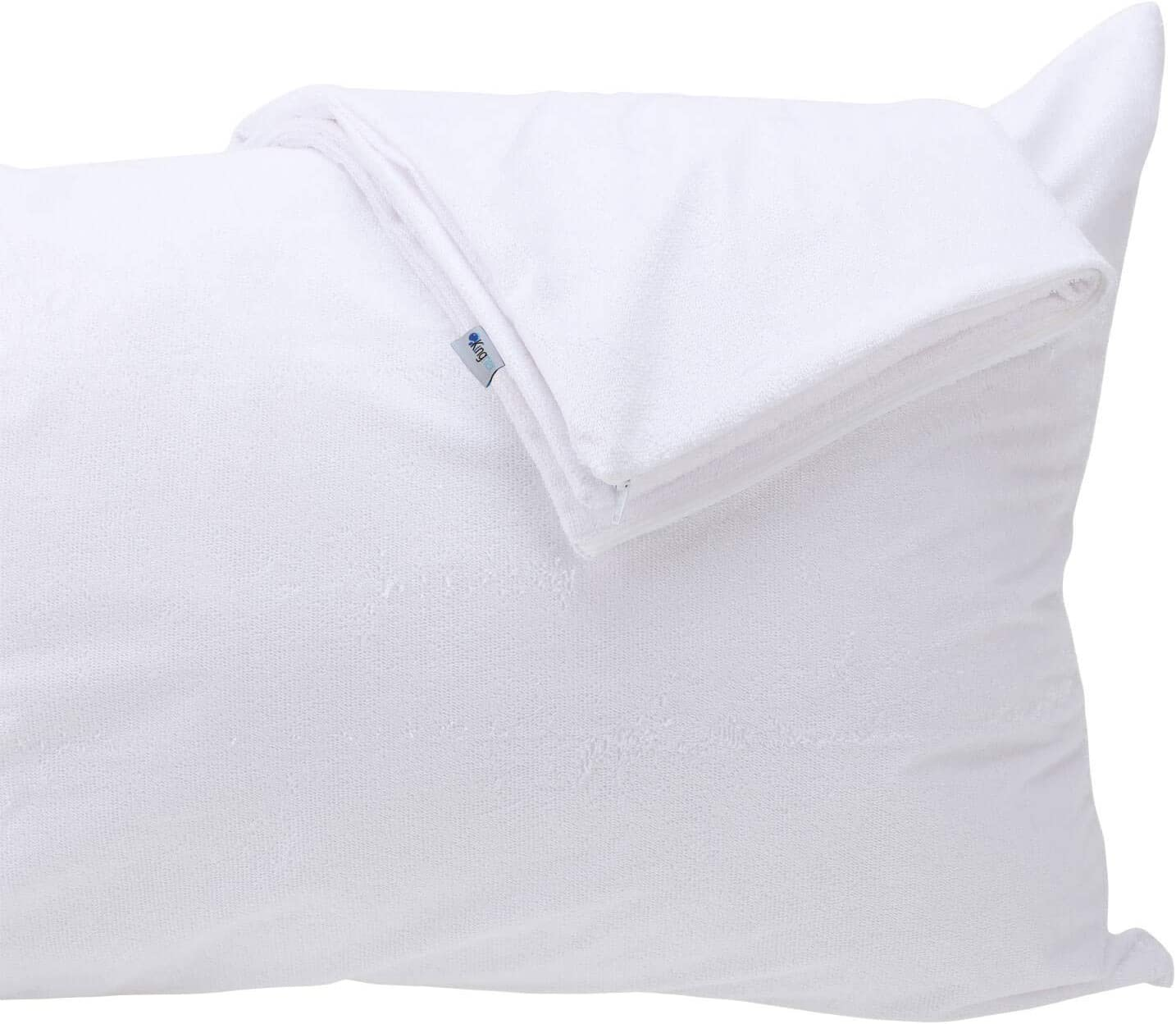 Kingnex Feather Proof Pillow Protectors Queen Size with Zipper Set of 2 - 100% Waterproof - Down Proof - Bamboo Terry Surface