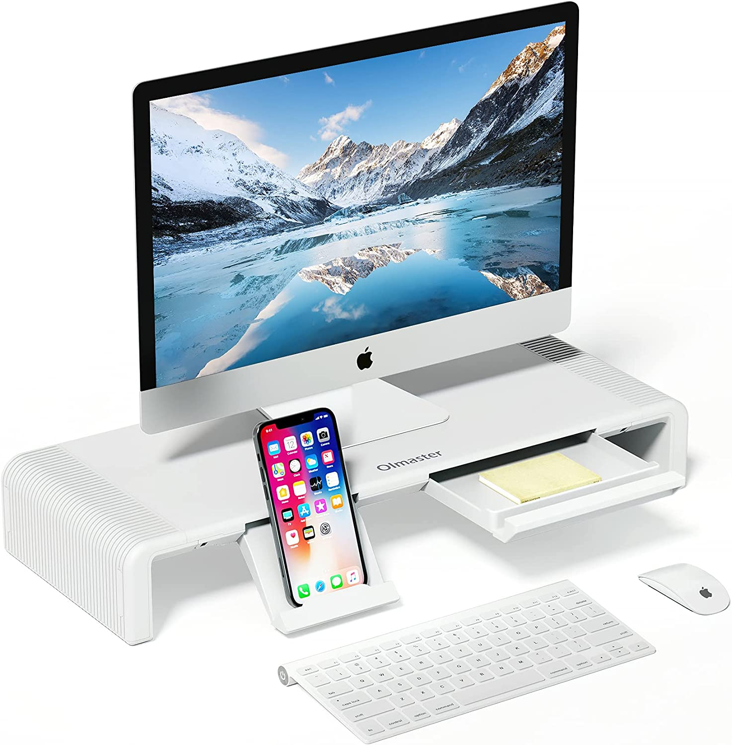 Monitor Stand Riser, OImatser Foldable Computer Monitor Riser, Adjustable Height Computer Stand and Storage Drawer & Pen Slot, Phone Stand for Computer, Desktop, Laptop, Save Space (Model A-White)
