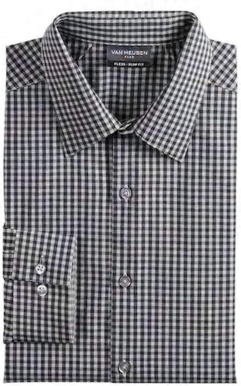 Van Heusen Men Slim Stretch Flex3 Comfort Shirt Dark Grey Size