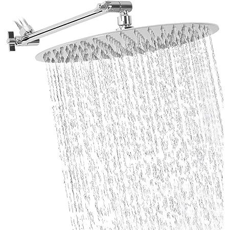 "Nearmoon High Pressure Easy 8-Inch Rain Shower Head With 11/"" Adjustable Arm"