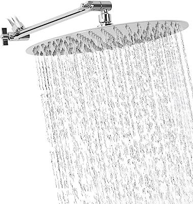 Rainfall Shower Head 12 Inch Large Rain Solid Square Ultra Thin Chrome Finish