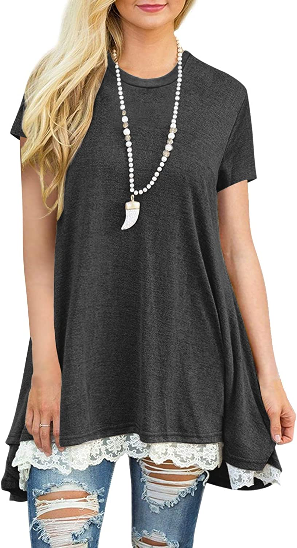 LERUCCI Women's Casual Short Sleeve Round Neck Loose Tunic T Shirt Top Blouse Dark Grey XLarge