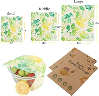 Beeswax Wraps, Eco Friendly Sustainable Reusable Beeswax Food Wraps, Cover for Fruits and Vegetables and Bowls to Keep Fresh, Plastic Free Alternative for Food Storage - 1S, 1M, 1L (Leaves)