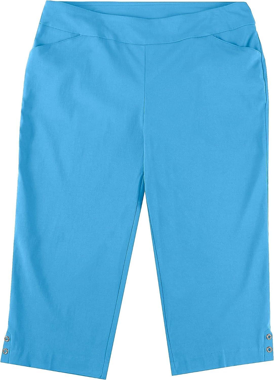 Coral Bay Plus Dual Pockets Solid Capris 16W Light Blue