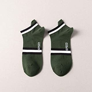B/H, B/H Calcetines Tobilleros Transpirables,Calcetines de Algodón,Calcetines Deportivos de algodón para Hombre-Verde Militar_10 Piezas
