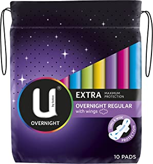 U By Kotex Extra Overnight Pads with Wings 10 Pack