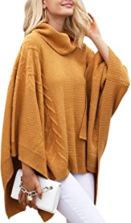 Women's Chic Turtleneck Batwing Sleeve Asymmetric Knitted...