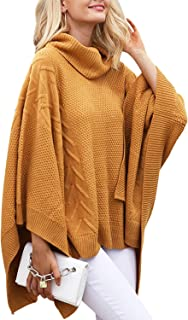 Women's Chic Turtleneck Batwing Sleeve Asymmetric Knitted...