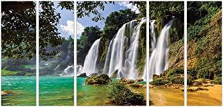 Art Amori Natural Waterfall landscape set of 5 MDF PaintingMulticolour 12x18 Inch - 1 Piece + 6x18 Inch-4 pieces for Wall ...