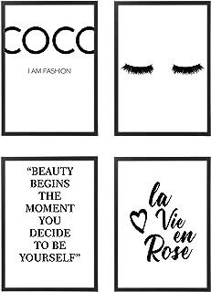 Quadro con Cornice o Poster Moderno Set - Coco La Vie En Rose - varie dimensioni vari colori Made in Italy - Stampe da Par...