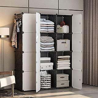 YOZO Modular Wardrobe Portable Clothes Closet Dresser Garment Rack Polyresin Storage Organizer Bedroom Armoire Cubby Shelving Unit Multifunction Cabinet DIY Furniture, Black, 12 Cubes