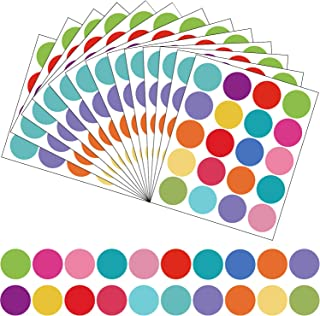 600 Pieces 1.5 Inch Coding Dot Labels Round Color Coding Labels Solid Color Circle Dot Stickers, 30 Sheets