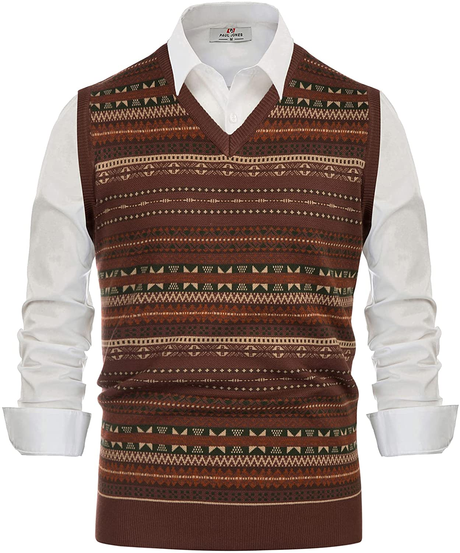 Men's Vintage Sweaters, Retro Jumpers 1920s to 1980s PJ PAUL JONES Mens V-Neck Fair Isle Sweater Vest Vintage Contrast Sweater Vest  AT vintagedancer.com