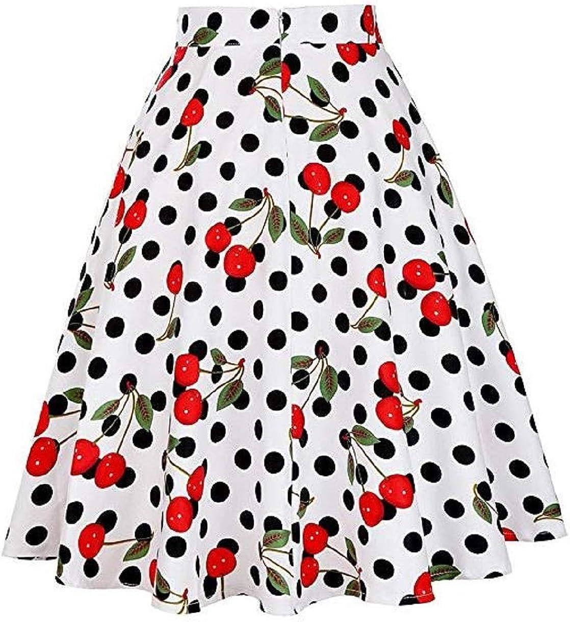 Women Pleated High Waist Skirts Skirt Casual Polka Dot Floral Print Vintage Skirts