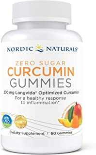 Nordic Naturals Zero Sugar Curcumin Gummies, Mango - 200 mg Optimized Curcumin Extract - 60 Gummies - Great Taste - Antiox...