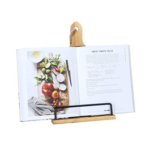 Soligt Cookbook Stand for Kitchen Counter Adjustable iPad Tablet Recipe Book Holder Rustic Wood Cutting Board Style