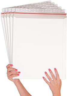 ABC 25 Pack Rigid Paperboard mailers 12.75 x 15. Stay flat Chipboard envelopes 12 3/4 x 15. White photography mailer. Large size. No bend documents, photo, prints. Peel and Seal. Red Strip