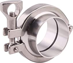 DERNORD Stainless Steel Tri-clamp (Tri-Clover Clamp) + 2 Pcs SUS304 Sanitary Pipe Weld Ferrule + Viton Gasket (2 Inch)
