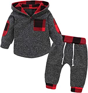 Infant Toddler Baby Boys Girls Clothes Hoodie Outfit Classic Plaid Sweatshirt +Pants Clothes Set...