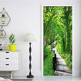 Autocollants de porte Stickers vert forêt chemin mur Art peinture murale salon chambre Restaurant porte autocollants auto-...