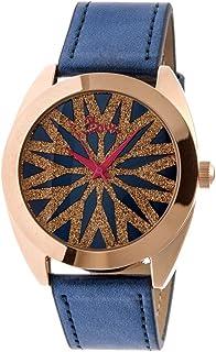 Etoile Glitter Dial Quartz Genuine Leather Strap Watch