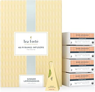 Tea Forte Ginger Lemongrass EVENT BOX Bulk Pack, 48 Handcrafted Herbal Tea Pyramid Infuser Bags