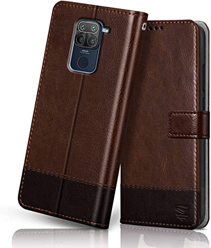 FLIPPED Vegan Leather Redmi Note 9 Flip Case Cover Shock Proof with TPU Bumper Card Pockets Magnetic Closure Wallet Flip Cover for XIAOMI MI REDMI Note 9 Hand Stitched Brown with Coffee