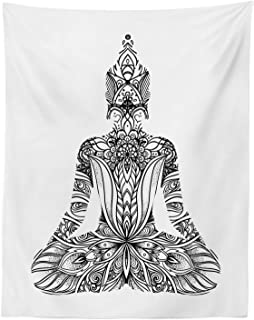 Lunarable Mandala Tapestry Twin Size, Balance and Tranquility Themed Image with Mandala and Man Doing Yoga Heart, Wall Hanging Bedspread Bed Cover Wall Decor, 68